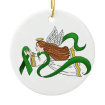"""Green Ribbon"" Awareness Angel Ceramic Ornament"