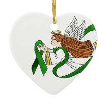 """""""Green Ribbon"""" Awareness Angel Ceramic Ornament"""