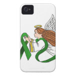 """Green Ribbon"" Awareness Angel iPhone 4 Case"