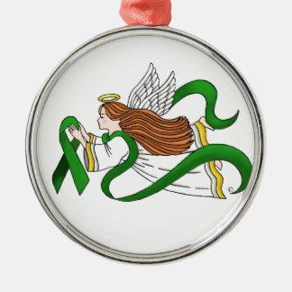 """""""Green Ribbon"""" Awareness Angel Metal Ornament"""