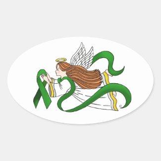 """Green Ribbon"" Awareness Angel Oval Sticker"
