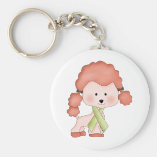 Green Ribbon Awareness Poodle Basic Round Button Keychain