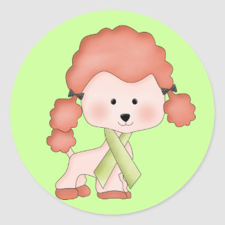 Green Ribbon Awareness Poodle Classic Round Sticker