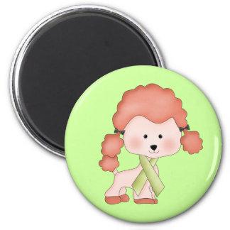 Green Ribbon Awareness Poodle Refrigerator Magnets