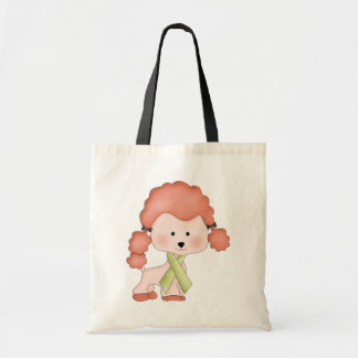 Green Ribbon Awareness Poodle Tote Bag