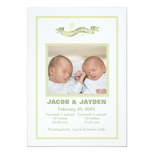 Green Ribbon Baby - Photo Birth Announcement