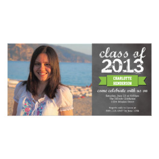Green ribbon banner chalkboard photo graduation card