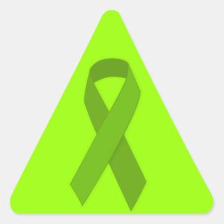 GREEN RIBBON CAUSES MEDICAL ILLNESSES CARING MOTIV TRIANGLE STICKER