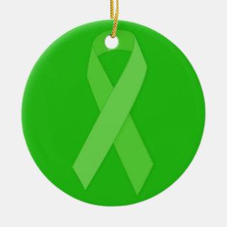 GREEN RIBBON CAUSES Organ & Tissue Donors, Mental Ceramic Ornament