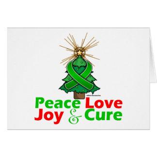 Green Ribbon Christmas Peace Love, Joy & Cure Greeting Card
