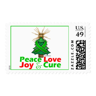 Green Ribbon Christmas Peace Love, Joy & Cure Postage Stamp