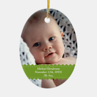 Green ribbon custom photo baby birth statistic ceramic ornament