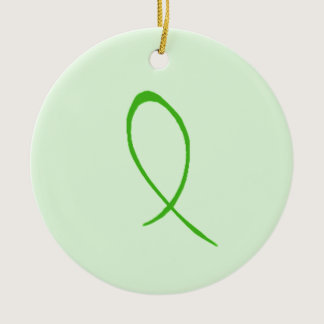 Green Ribbon Customizable Ceramic Ornament