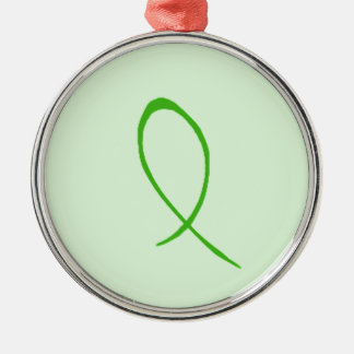 Green Ribbon Customizable Metal Ornament