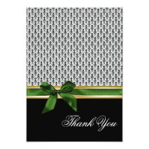 green ribbon damask Thank You Card