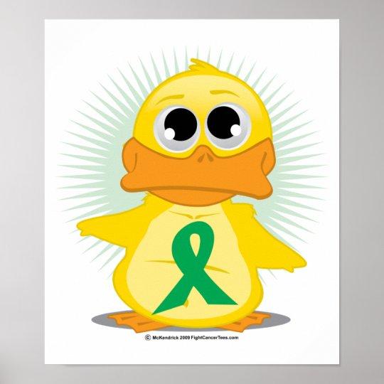 Green Ribbon Duck Poster