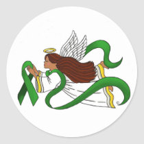 """Green Ribbon"" Ethnic Angel Classic Round Sticker"