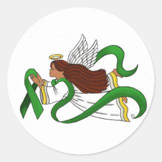 """Green Ribbon"" Ethnic Angel Classic Round Sticker"