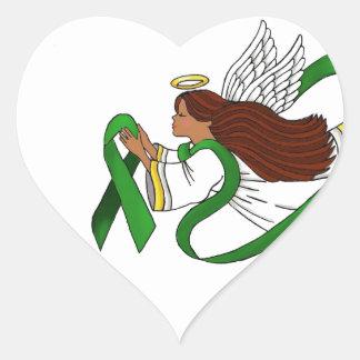 """Green Ribbon"" Ethnic Angel Heart Sticker"