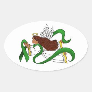 """Green Ribbon"" Ethnic Angel Oval Sticker"