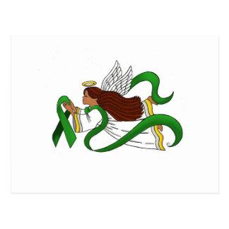 """Green Ribbon"" Ethnic Angel Postcard"