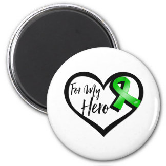Green Ribbon For My Hero 2 Inch Round Magnet