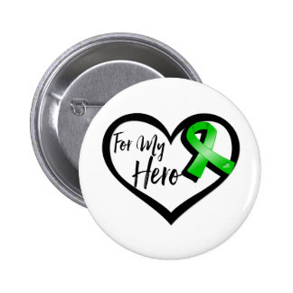 Green Ribbon For My Hero Button