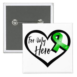 Green Ribbon For My Hero Pinback Button