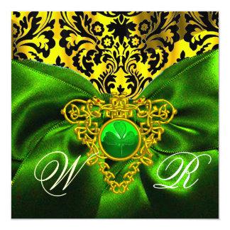 GREEN RIBBON GOLD CELTIC HEART DAMASK MONOGRAM CARD