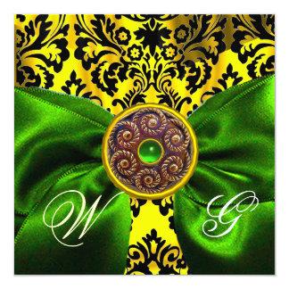 GREEN  RIBBON GOLD YELLOW  BLACK  DAMASK MONOGRAM CARD