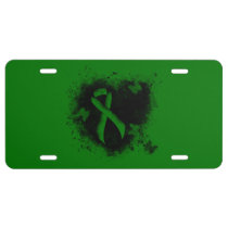 Green Ribbon Grunge License Plate