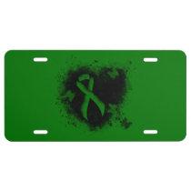 Green Ribbon Grunge License Plate