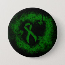 Green Ribbon Grunge Pinback Button