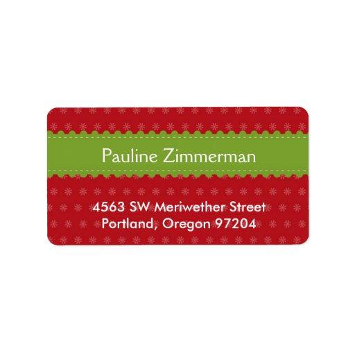 Green ribbon jolly festive red Christmas holiday Address Label