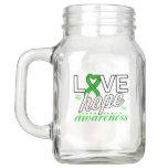 Green Ribbon Love Hope Awareness Mason Jar