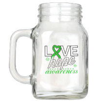 Green Ribbon Love Hope Awareness Mason Jar