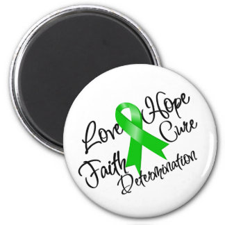 Green Ribbon Love Hope Determination 2 Inch Round Magnet
