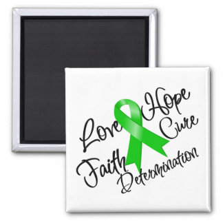 Green Ribbon Love Hope Determination 2 Inch Square Magnet