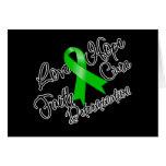 Green Ribbon Love Hope Determination Greeting Card