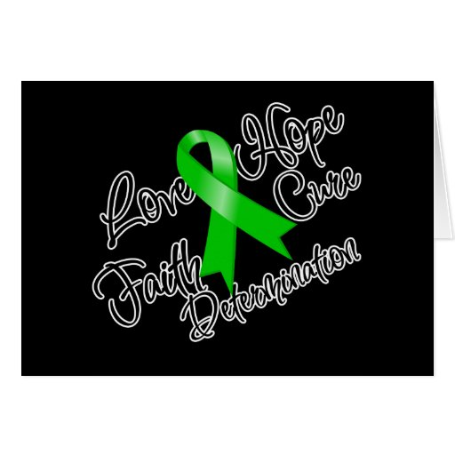 Green Ribbon Love Hope Determination Greeting Card