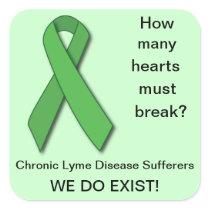 Green Ribbon Lyme Disease Awareness Square Sticker