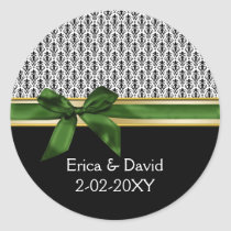 green ribbon Monogram label