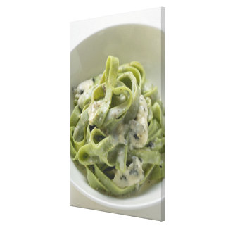 Green ribbon pasta with Gorgonzola sauce Canvas Print