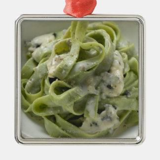 Green ribbon pasta with Gorgonzola sauce Metal Ornament