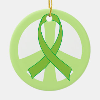 Green Ribbon Peace Sign Awareness Ornament Gift