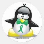 Green Ribbon Penguin Classic Round Sticker