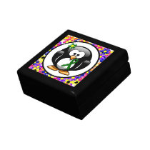 Green Ribbon Penguin Keepsake Box