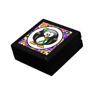 Green Ribbon Penguin Keepsake Box