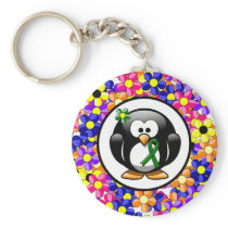 Green Ribbon Penguin Keychain