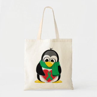 Green Ribbon Penguin Scarf Canvas Bags